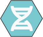 Hexagonal icon with light teal background with white DNA shape inside