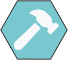 Hexagonal icon with light teal background with white hammer shape inside