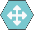 Hexagonal icon with light teal background with white arrows pointing in 4 opposite directions shape inside