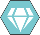 Hexagonal icon with light teal background with white diamond shape inside