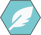 Hexagonal icon with light teal background with white leaf shape inside