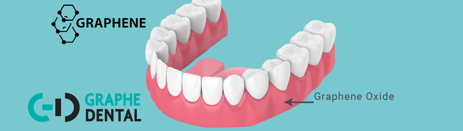 Graphical representation of a permanent dentures made with graphene oxide